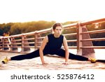 yong female runner with... | Shutterstock . vector #525876412