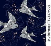 swallow seamless pattern.... | Shutterstock .eps vector #525879706