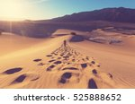 Hiker In Sand Desert. Sunrise...