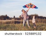 father and son playing in the... | Shutterstock . vector #525889132