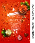 christmas vector poster with...   Shutterstock .eps vector #525890992
