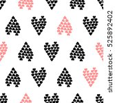 pink and black hearts of the... | Shutterstock .eps vector #525892402