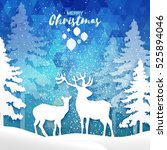 origami merry christmas snow... | Shutterstock .eps vector #525894046