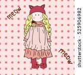 meow doll. vintage hand drawn... | Shutterstock .eps vector #525906982