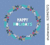 handdrawn christmas wreath with ... | Shutterstock .eps vector #525907072
