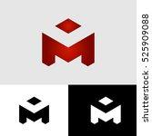 logo badge letter m polygonal...   Shutterstock .eps vector #525909088
