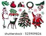 vector watercolor retro style...   Shutterstock .eps vector #525909826