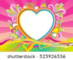 valentines card at retro style. ... | Shutterstock . vector #525926536