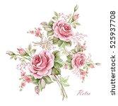 watercolor floral composition... | Shutterstock . vector #525937708