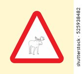 road sign elk icon vector...