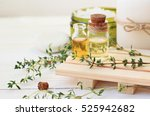 thyme essential oil. bottles... | Shutterstock . vector #525942682
