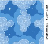 seamless pattern with clouds.... | Shutterstock .eps vector #525946285