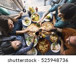 friends eating pizza party... | Shutterstock . vector #525948736