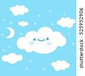 cute cartoon cloud emoji.... | Shutterstock .eps vector #525952906