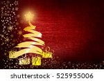 christmas background with... | Shutterstock . vector #525955006