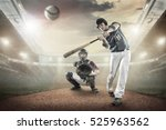 baseball players in action on... | Shutterstock . vector #525963562