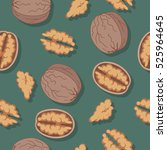 walnut seamless pattern. ripe... | Shutterstock .eps vector #525964645