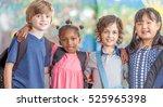 happy mixed race primary... | Shutterstock . vector #525965398