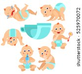 a baby in diapers playing with... | Shutterstock . vector #525970072