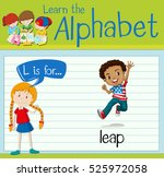 flashcard letter l is for leap... | Shutterstock .eps vector #525972058