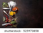 various spices spoons on stone... | Shutterstock . vector #525973858