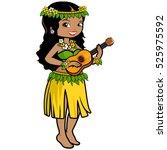 hawaiian woman playing the... | Shutterstock . vector #525975592
