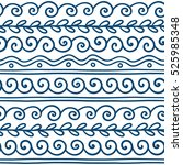 vector greek wave and meander... | Shutterstock .eps vector #525985348