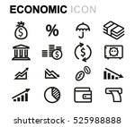 vector line economic icons set... | Shutterstock .eps vector #525988888