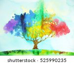 rainbow tree color colorful... | Shutterstock . vector #525990235