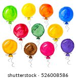 colorful watercolor balloons | Shutterstock . vector #526008586