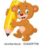 cute bear cartoon holding pencil | Shutterstock . vector #526009798