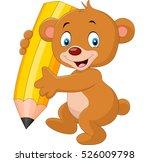 cute bear cartoon holding pencil   Shutterstock . vector #526009798