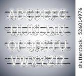 glowing neon silver alphabet....   Shutterstock .eps vector #526014976
