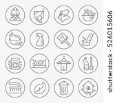 cleaning thin line icon set | Shutterstock .eps vector #526015606