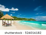 beach beds with roof and... | Shutterstock . vector #526016182