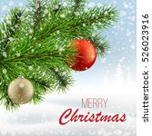 the branch of a christmas tree... | Shutterstock .eps vector #526023916