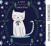 Stock vector cat christmas card 526038232