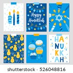 set of six hanukkah greeting... | Shutterstock .eps vector #526048816