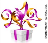 vector purple ribbon and gift... | Shutterstock .eps vector #526052656