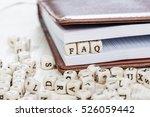word faq written on a wooden... | Shutterstock . vector #526059442
