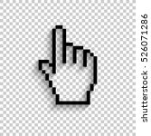 pixel hand   black vector  icon ...