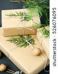 wrapping rustic eco christmas... | Shutterstock . vector #526076095