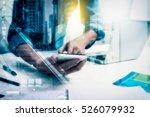 double exposure of businessman... | Shutterstock . vector #526079932
