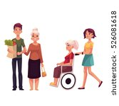 helping grandmother with... | Shutterstock .eps vector #526081618