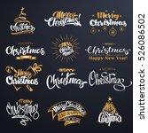 merry christmas lettering... | Shutterstock .eps vector #526086502