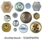 many metallic screw heads  nuts ... | Shutterstock . vector #526096096