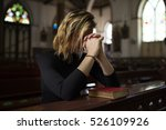 woman sitting church religion... | Shutterstock . vector #526109926