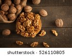 walnut kernels in sack and... | Shutterstock . vector #526110805