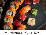 Maki Rolls And Nigiri Sushi On...