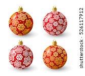 set of red christmas balls for... | Shutterstock .eps vector #526117912